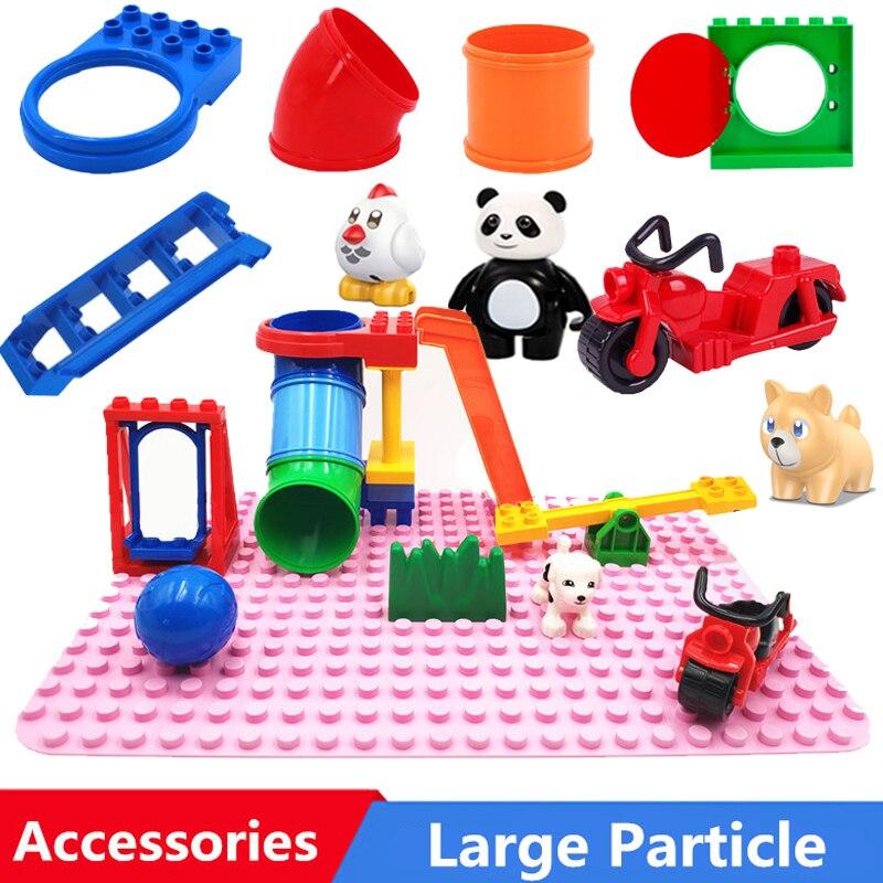 Конструктор «сделай сам» большого размера, аксессуары, трубка, качели, мотоцикл, совместим с игрушками для детей, подарок для детей