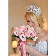 Trendy Gold Silber Farbe Kristall Luxus Große Königin Krone Für Hochzeit Große Tiara Haar Schmuck Für Braut Haar Zubehör HG 060