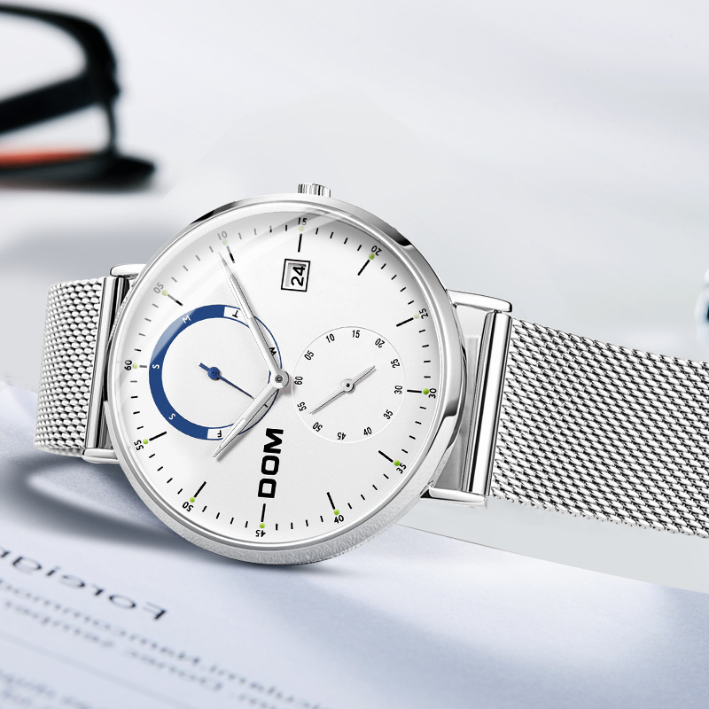 Dom DOM Men Ultra-Thin Simple Calendar Mesh Belt Quartz Watch Fashion Waterproof MEN'S Watch M-436d-7m