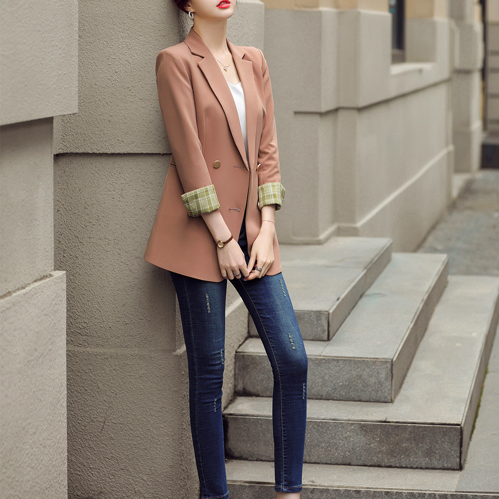 2020 Autumn Solid Green Double Breasted Blazer Suit Coat Business Female Elegant Office Lady Workwear