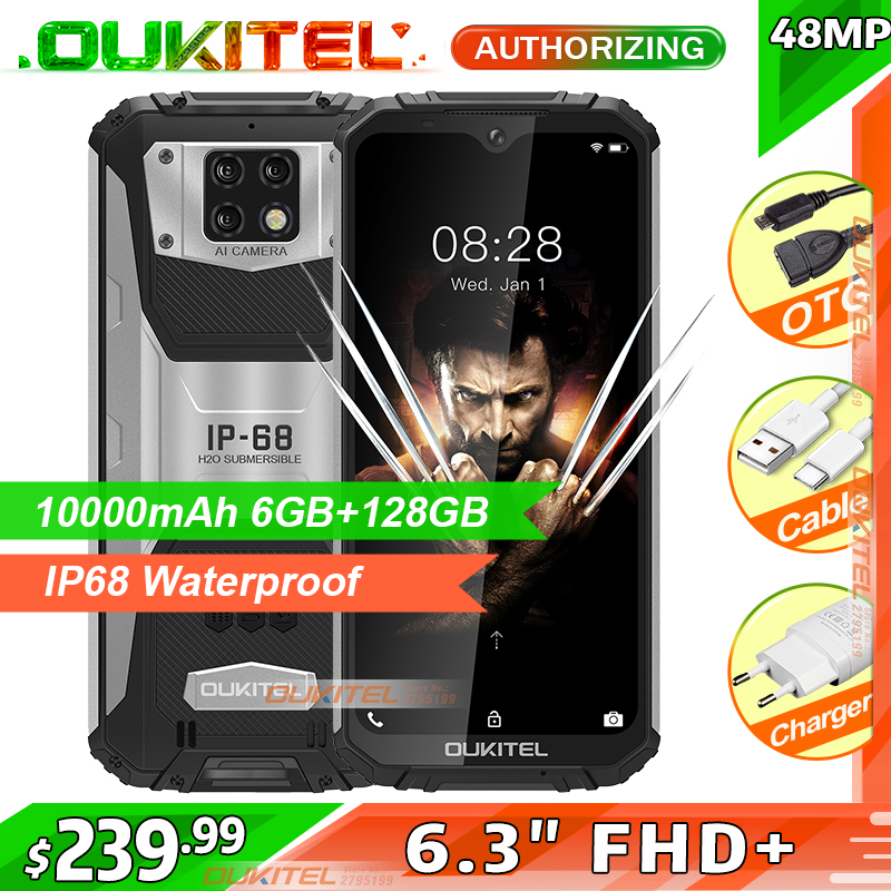 OUKITEL WP6 10000mAh 6.3'' FHD+ IP68 Waterproof Mobile Phone 6GB 128GB Octa Core 48MP Triple Cameras Rugged Smartphone title=