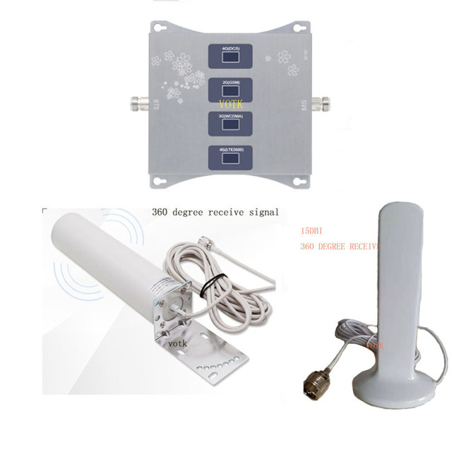 Vier Band Signaal Booster Mobiele 2G 3G 4G Lte Repeater 900180021002600Mhz Celluar Versterker Met Omin antenne