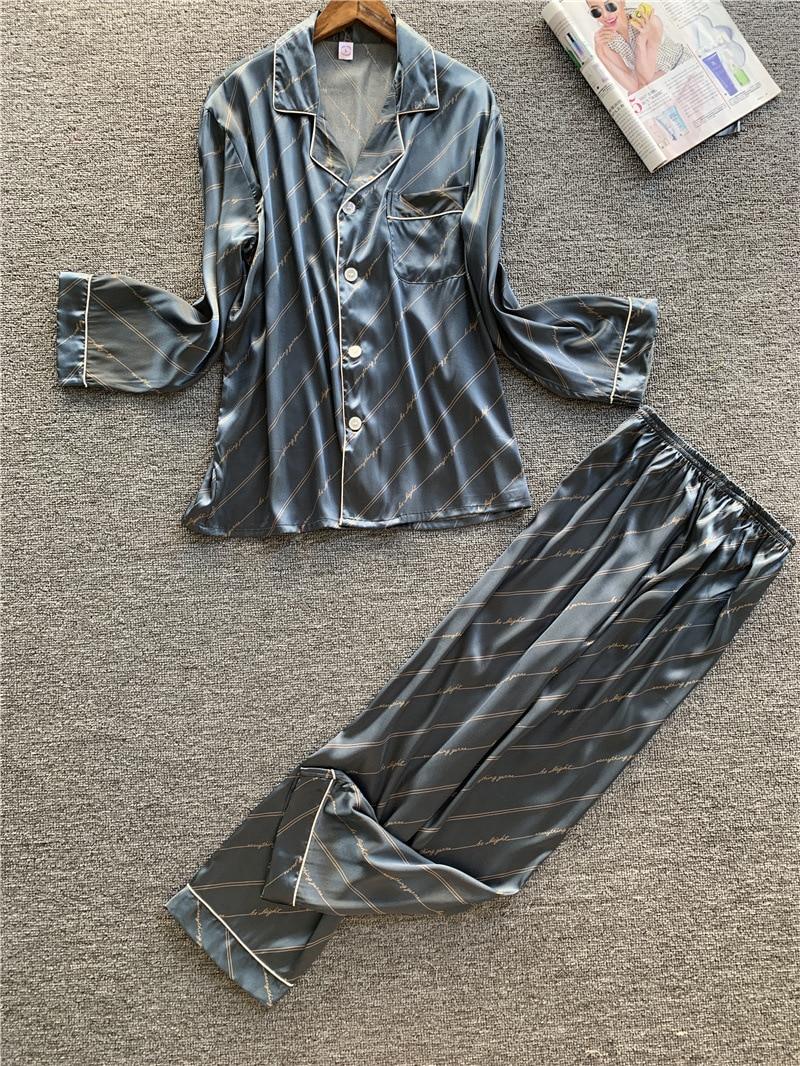 Men Pyjama Spring New Style Pyjama Sleepwear Opener Leisure Comfort Simulated Silk Long Sleeve Trousers Men Silk Housewear Suit