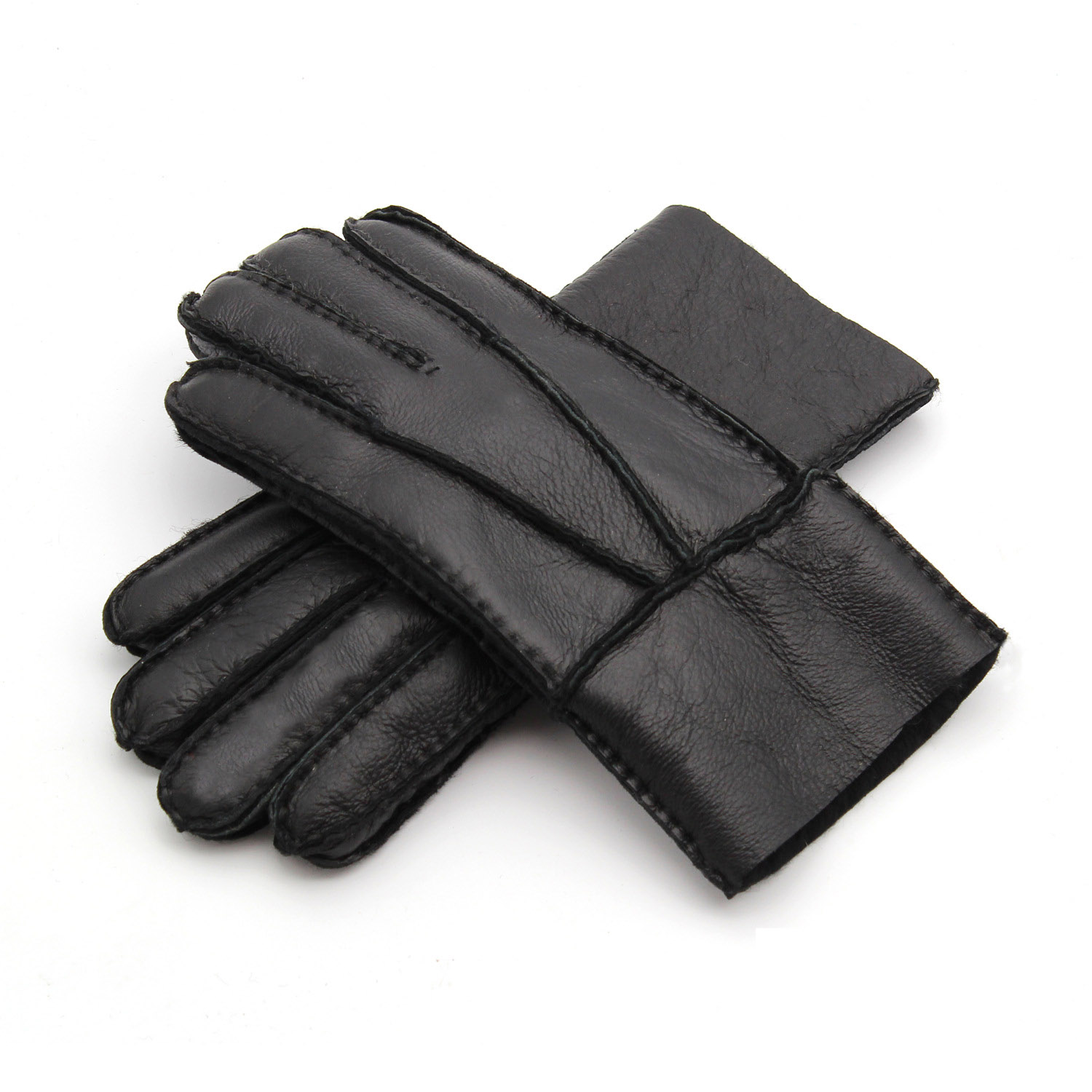 Men Winter Gloves Leather Fur Gloves Women Sheepskin Wool Mittens Medium Thick Warm Leather Driving Gloves AGB690