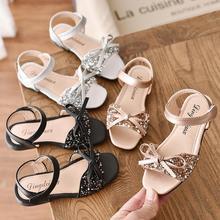 Spring Summer Girls Shoes Kids Sandals Glitter Leather Flats