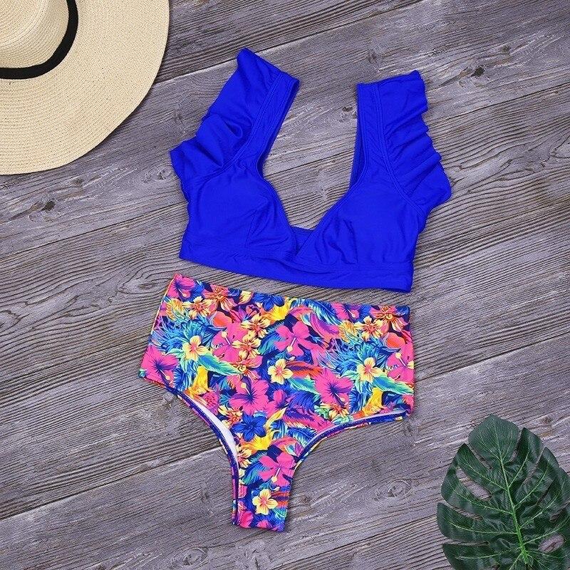 Solid Ruffle Bikini Set High Waist Print Swimwear Women Bathing Suit Sexy Swimsuit 2020 New Summer Beachwear Biquini Feminino 1