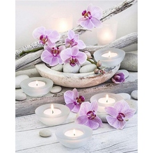 Full Round Diamond 5D DIY Diamond Painting Flower & Candle Stones Embroidery Cross Stitch Rhinestone Painting Gift diamond pattern candle cover