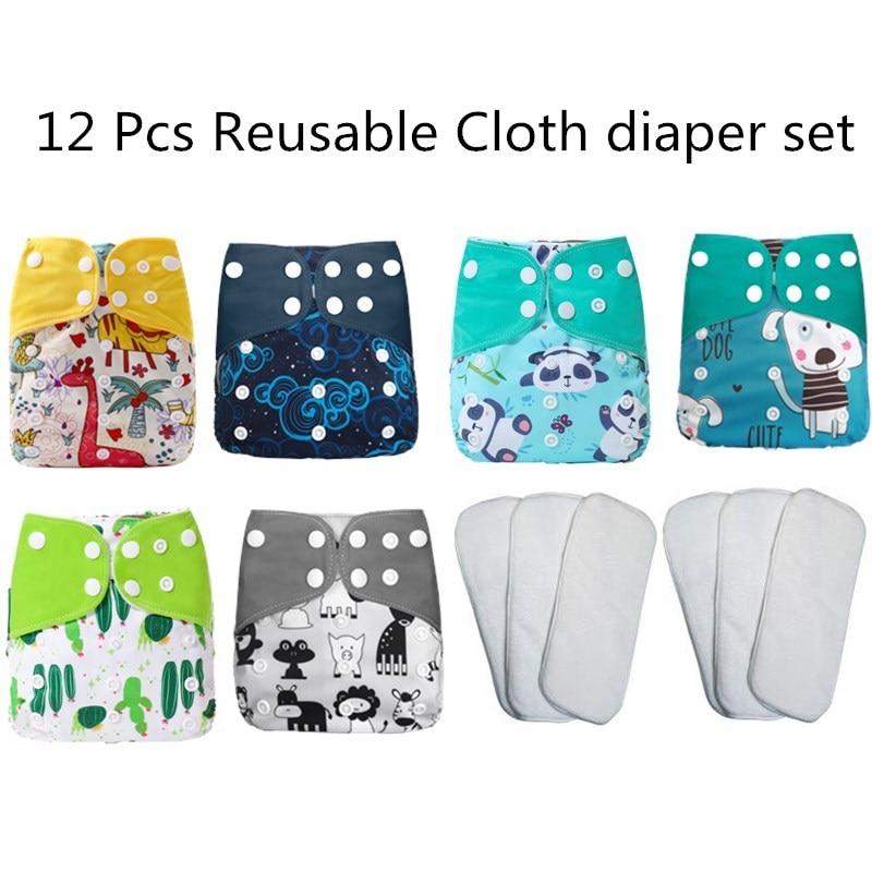 [Simfamily] Набор детских подгузников, многоразовые моющиеся тканевые подгузники, регулируемые экологически чистые подгузники для малышей 3-15 к...