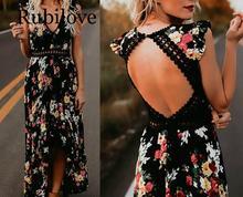 купить Rubilove Autumn Women Fashion Maxi Irregular Boho Dress Summer Floral Print V-Neck Hem Dresses Holiday Bohemia Long Women Dress по цене 741.84 рублей