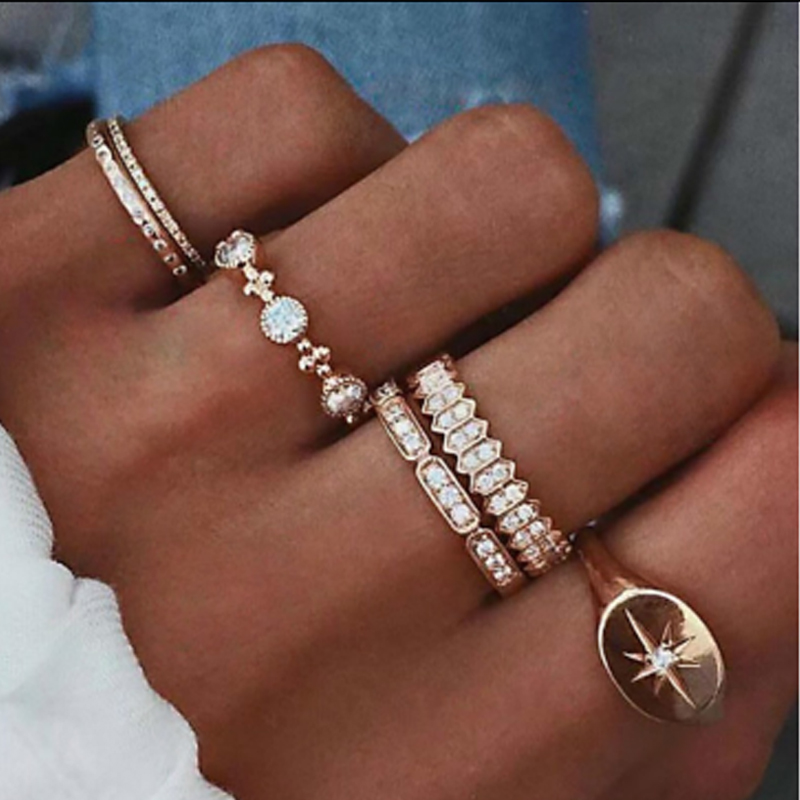 Tocona Bohemian Vintage Water Drops Star Geometric Crystal Ring Set Women Charm Joint Ring Fashion Jewelry Gift 5