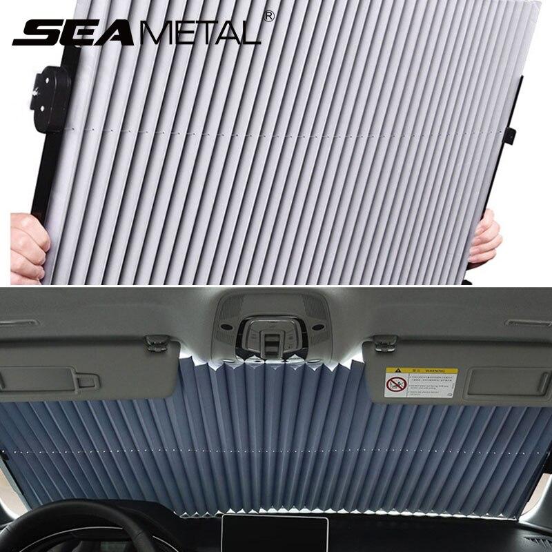 กระจกรถยนต์ผ้าม่านRetractableชุดพับรถบังแดดฟิล์มสะท้อนแสงผ้าม่านUVรถSun Shade 45 ซม./65 ซม./70 ซม.