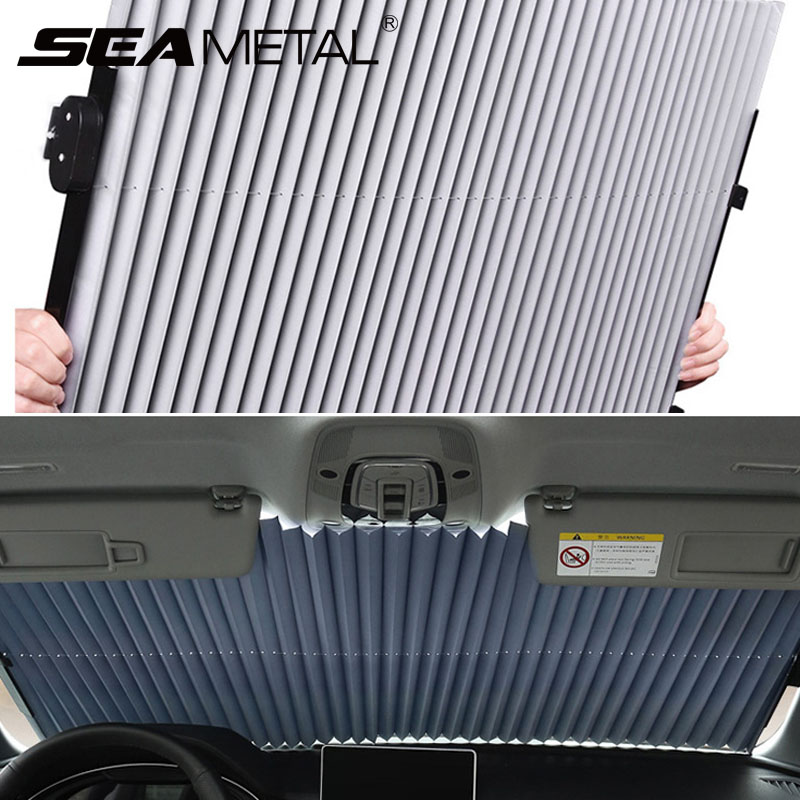 Araç ön camı perde geri çekilebilir seti katlanır araba güneşliği kapak yansıtıcı Film perdeleri Anti-UV araba güneş gölge 45cm/65cm/70cm