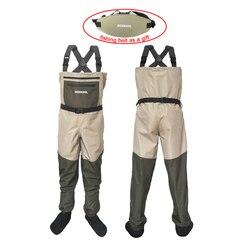 الصيد الملابس الصيد الخوض السراويل 3 طبقة مقاوم للماء الخوض دعوى تنفس بدلات واقية للصدر وزرة يطير الصيد بذلة FX1
