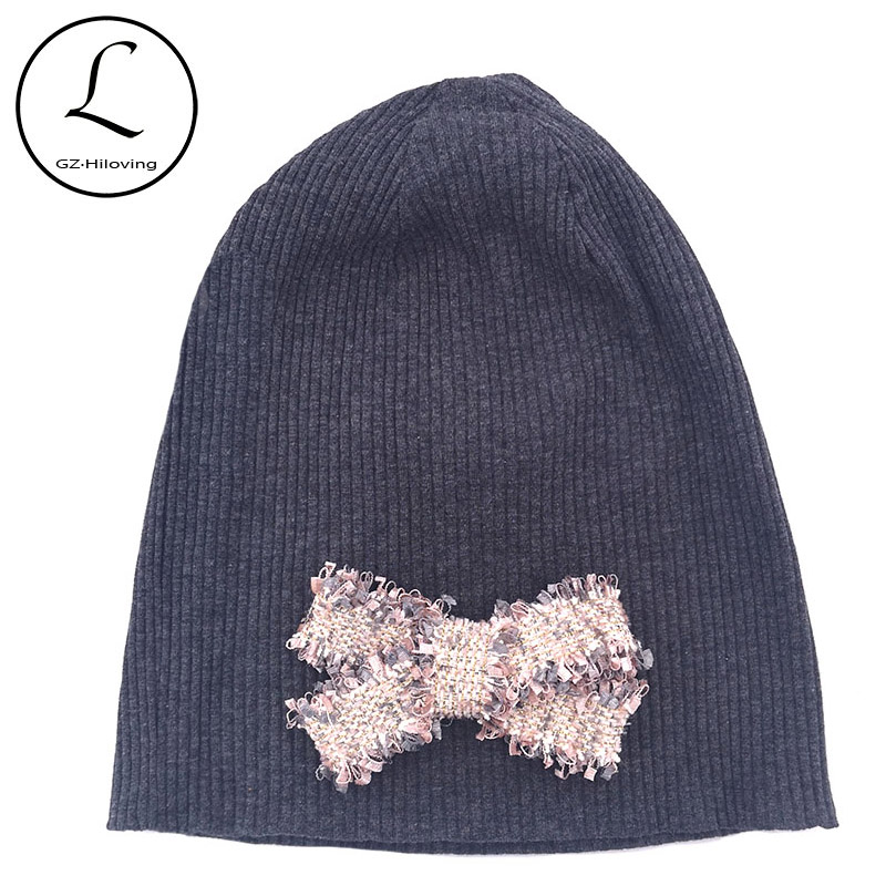 Slouchy Winter Hats Women Ribbed Cotton Beanies For Ladies Autumn Ribbon Bow Stretch Beanies Skullies Hats Girls Bonnet Gifts