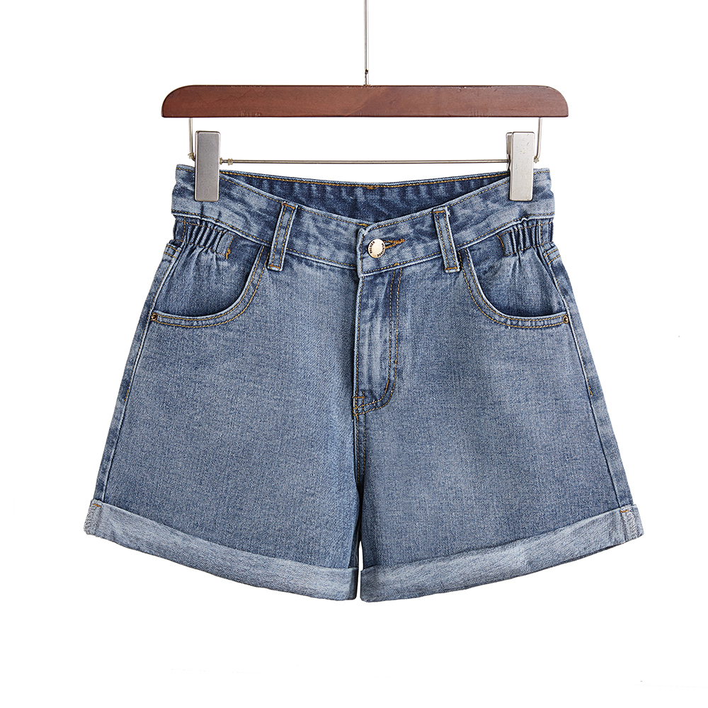 Denim Shorts Women's Summer New Light Blue Women Short Jeans Fashion Elastic Waist  Wide Leg High Waist With Pockets Shorts