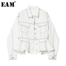 [EAM] mujeres Denim botón Blusa plisada nueva solapa de manga larga suelta Fit camisa moda todo-fósforo primavera otoño 2019 1A095