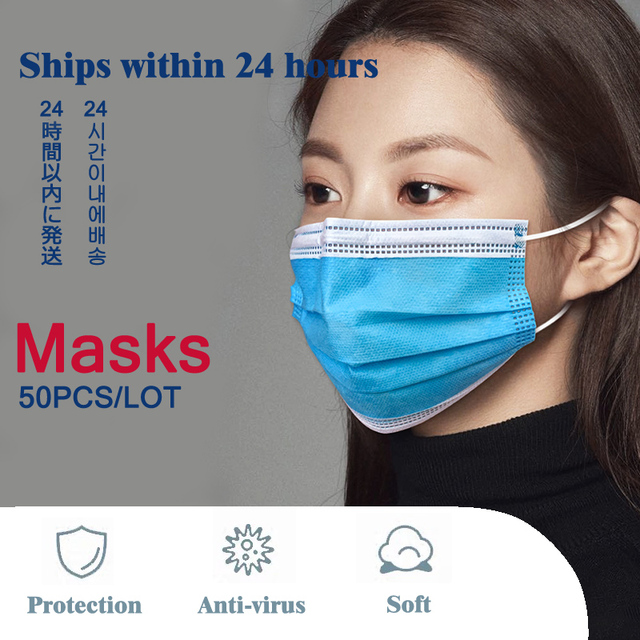 50 Pcs 3 Layer Disposable Protective Face Mouth Mask Flu FFP2 Influenza Bacterial Facial Dust-Proof Safety Mask