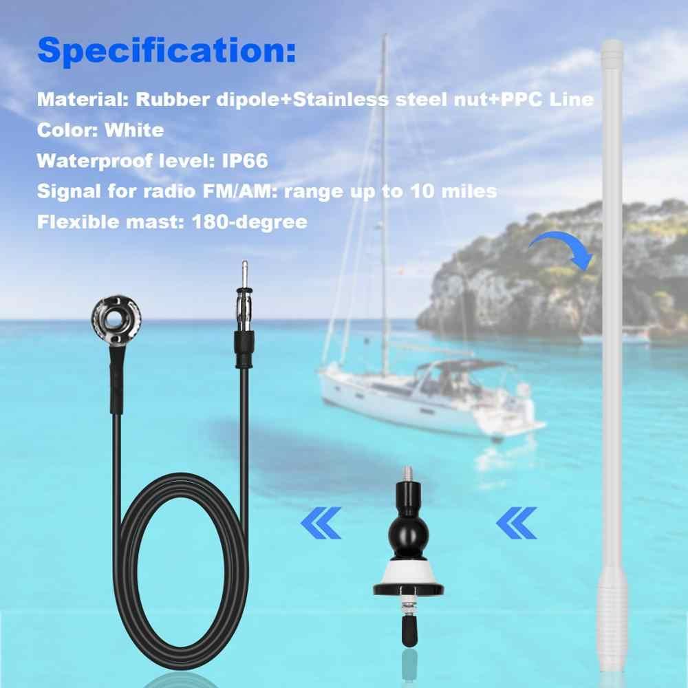 Antena blanca de Radio marina para barco, impermeable, pato de goma dipolo Flexible, moduladores marinos de FM AM para coche, yate, Tractor, ATV, UTV, RV