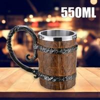 1pc 550ml Holz Bier Becher Deutsch Becher Kaffee Tee Tasse Eiche Holz Geschenk Krug Becher Wein Becher Bier tasse Kaffee Tassen-in Tassen aus Heim und Garten bei