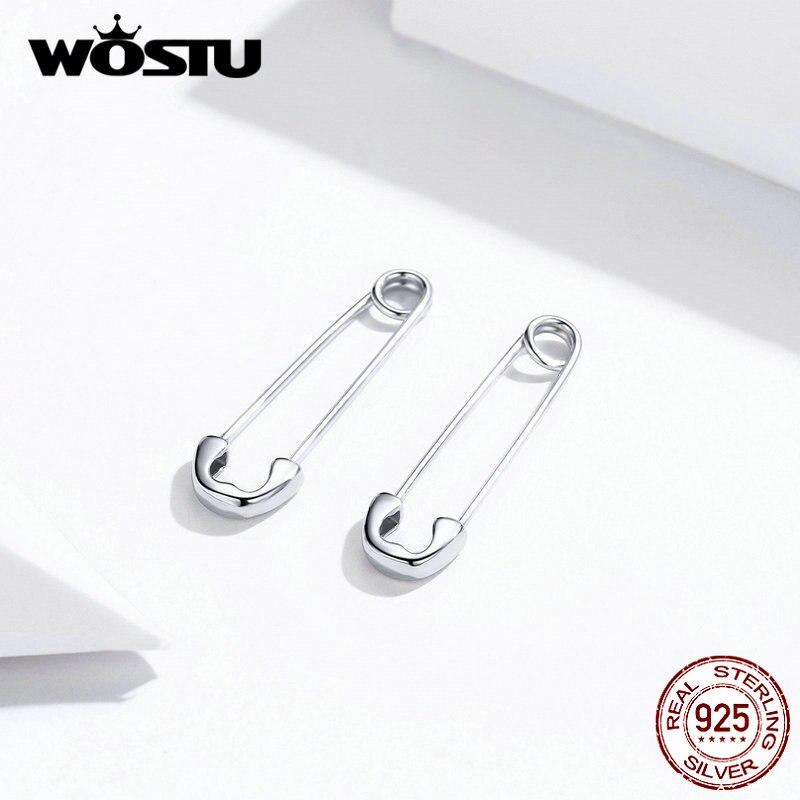WOSTU Real 925 Sterling Silver Pin Cartilage Fashion Earrings Minimalist Style Punk Earrings For Women Party Jewelry BKE695-A