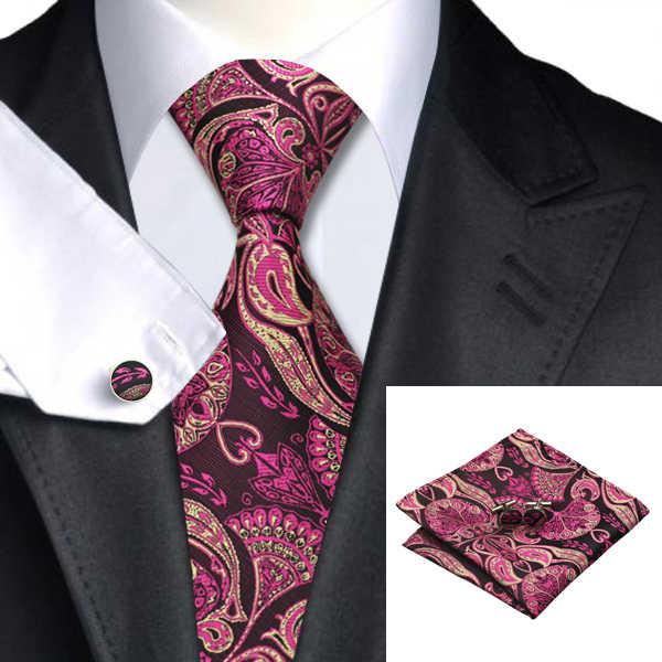 Hi-Tie 100% رابطة عنق حرير للرجال Handky أزرار أكمام مجموعة أحمر 150 سنتيمتر كبير الرجال التعادل الأسود الفاخرة الأزهار موضة مصمم الزفاف ربطة العنق
