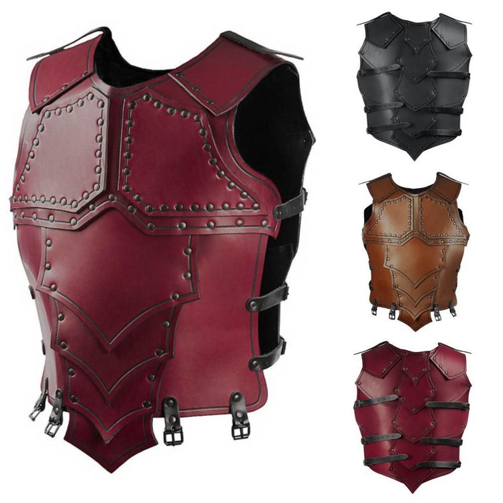 Medieval Vintage Leather Armor Steampunk Rivet Gear Viking Warrior Gladiator Combat Costume War Fighting Larp Hard Vest For Men(China)