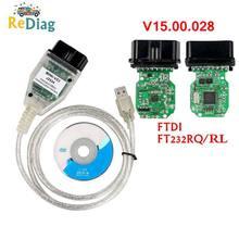 Mini vci v15.00.028 mais novo techstream tis suporta para toyota j2534 único cabo ferramenta de diagnóstico MINI-VCI leitor código obd2