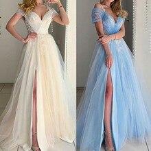 Robe Ball-Gown Romantic Women Chiffon Fashion Maxi-Dresses Mesh Evening-Party-Dress Porm