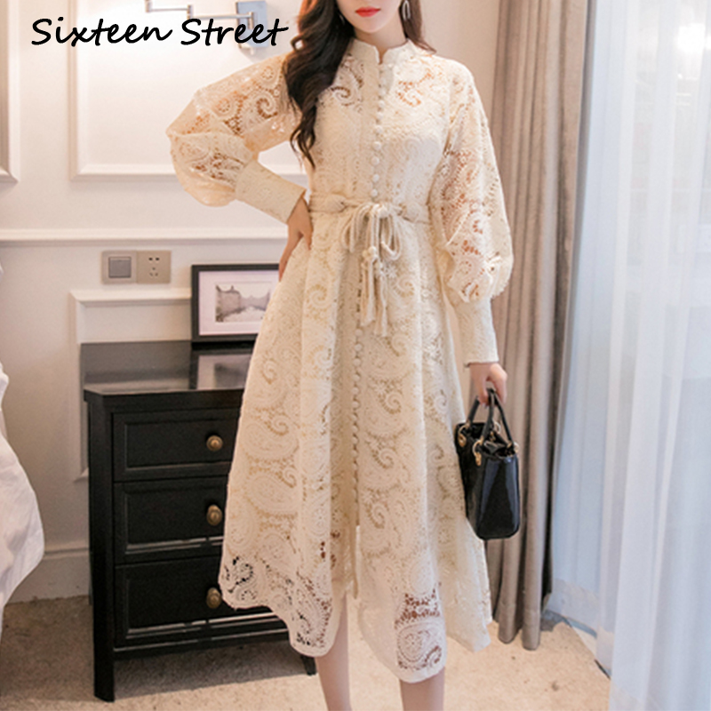 Braided Belt High Waist Woman's Dress Hollow Out Embroidery Long-sleeve Apricot Vintage Maxi Dress Autumn 2019 New