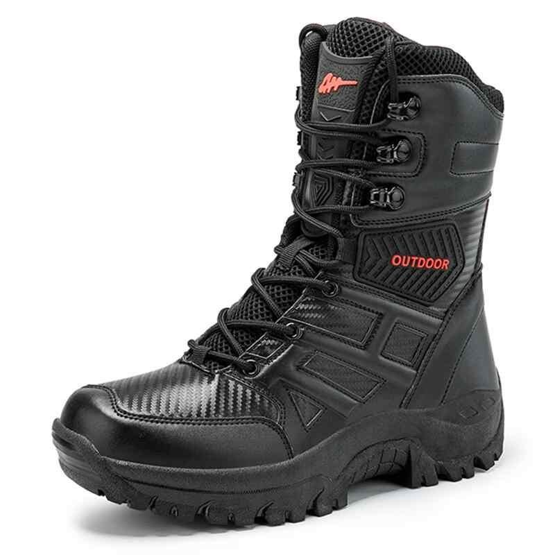 UEXIA Nieuwe Schoeisel Militaire Tactische Heren Laarzen Speciale Kracht Lederen Desert Combat Enkellaars Leger mannen Schoenen Plus Size 39-47