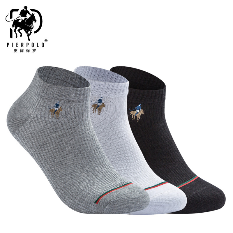Hot Sale Summer Autumn Men's Cotton Sport Socks Breathable Ankle Black White Gray Socks Pier Polo Brand Sock Man Size 39-44
