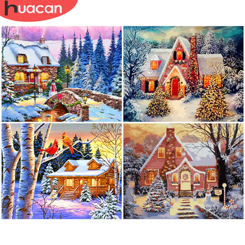 HUACAN Paint By Number House Drawing On Canvas Hand Painted Painting Winter DIY Pictures By Numbers Landscape Kits Home Decor