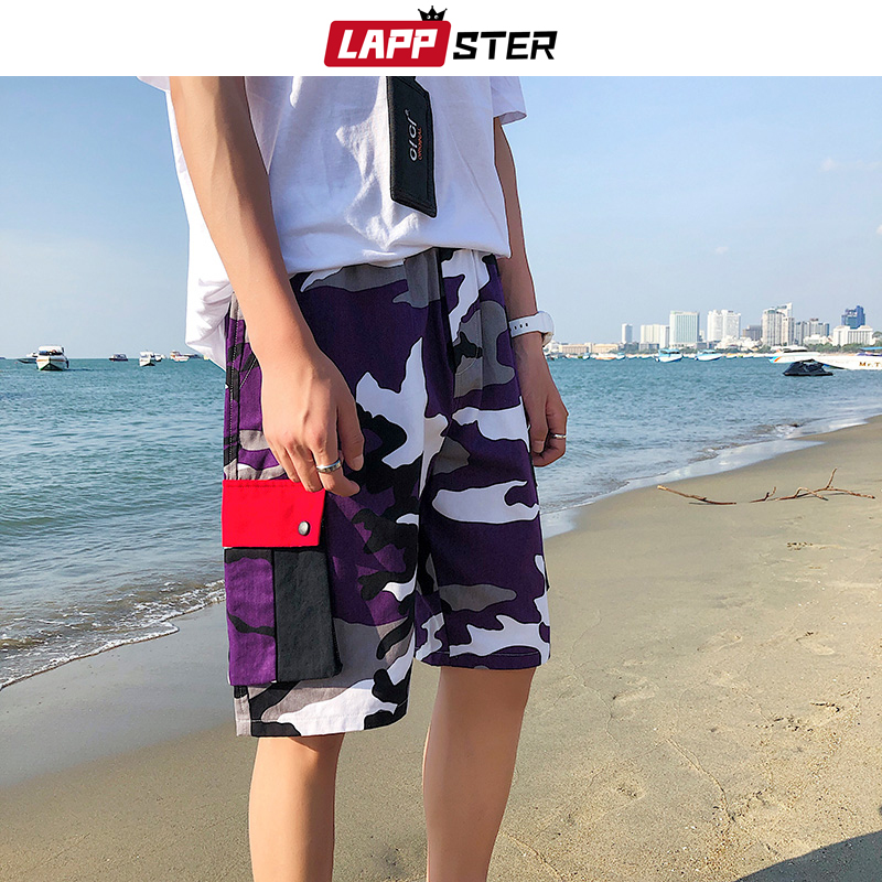 LAPPSTER Men Camouflage Cargo Shorts 2020 Summer Shorts Man Hip Hop Sweatpants Japanese Patchwork Korean Cotton Sweat Shorts