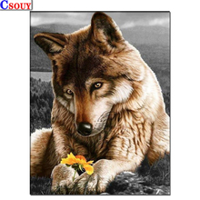 Animals 5D Diy Diamond Embroidery wolf Flower Diamond Mosaic Drawing Full Square Round Drill Diamond Painting Cross Stitch Decor diapai 100% full square round drill 5d diy diamond painting flower landscape diamond embroidery cross stitch 3d decor a21095