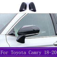 2Pcs Carbon Fiber Car Rearview Mirror Cover Trim Rear View Mirror Case Covers Car Styling Fit For Toyota Camry 2018 2019 2020 fa(China)
