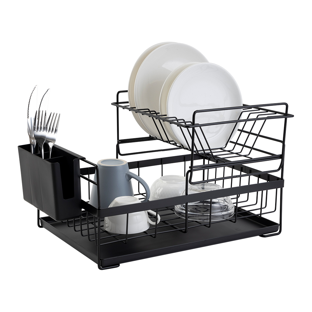 Dish Drying Rack with Drainboard Drainer Kitchen Light Duty Countertop Utensil Organizer Storage for Home Black White 2-Tier
