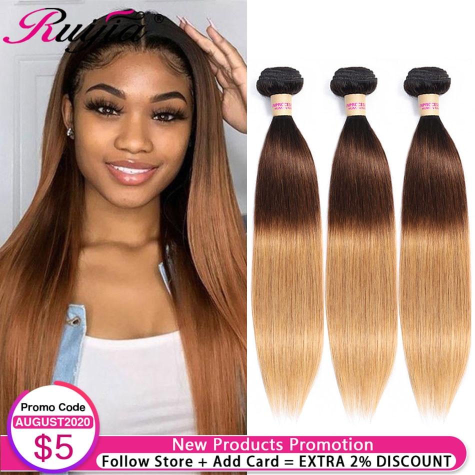Straight Hair Bundles Honey Blonde Ombre Bundles 1B 4 27 Colored Human Hair Weave Bundles Malaysian Hair Extension 1 3 4 Bundles
