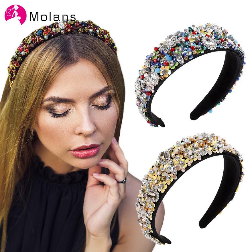 Molans Black Gold Jewelled Headbands For Women Solid Rhinestones Embellished Baroque Floral Pattern Beading Headbands Hairbands