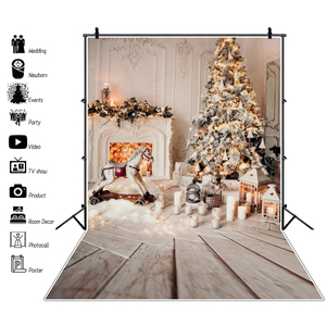 Laeacco Gray Chic Wall Fireplace Winter Christmas Tree Candle Gift Kid Toy Floor Party Photo Background Photo Backdrop Photocall
