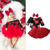 0-24 Months Baby Girl Clothes Newborn Baby Girls Floral Long Sleeve Bodysuit Jumpsuit+Tutu Skirt+Headband 3pcs Outfits Girls Set