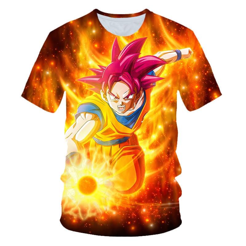 Boy T-Shirt Tops Dragon-Ball-Goku Girl Animation Short-Sleeved Children's Summer 3D Handsome