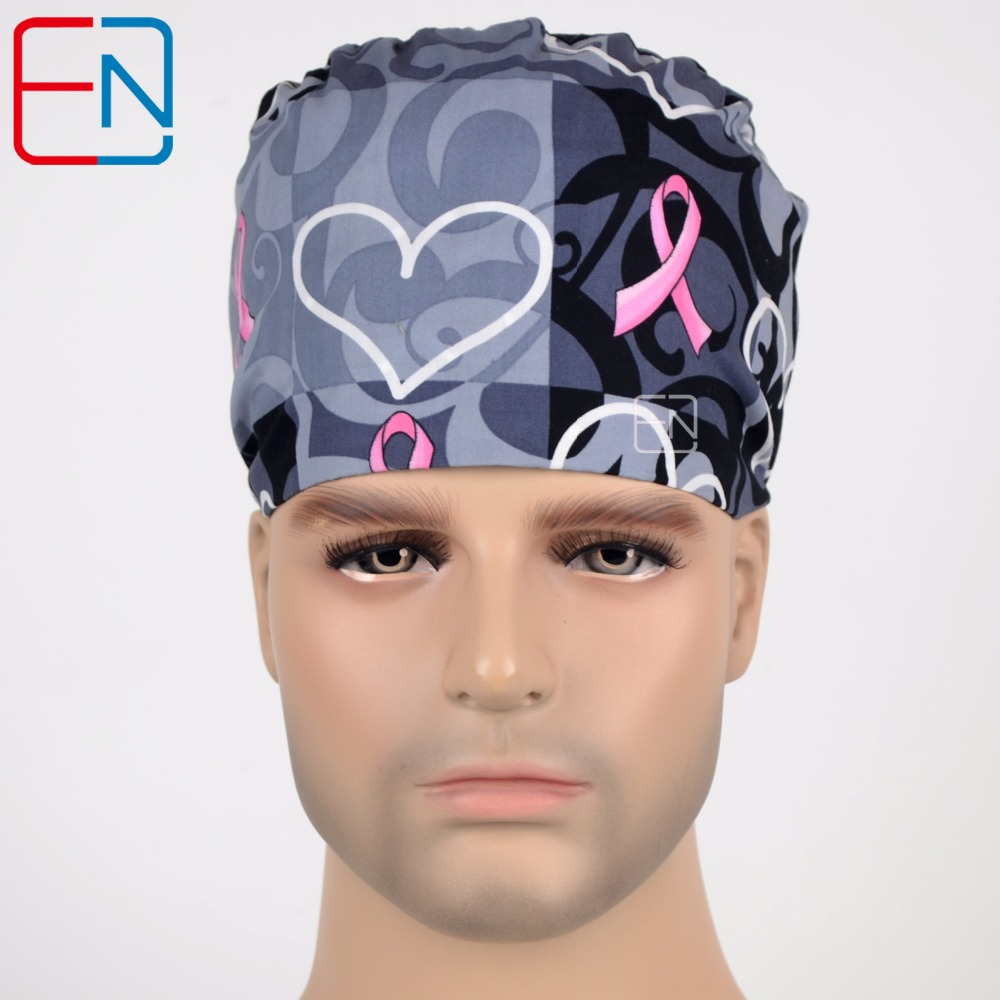 Hennar Surgical Scrub Caps 2018 Lab Hospital Surgical Scrub Cap 100% Cotton Printed Medical Operation Cap Mask Adjustable Unisex