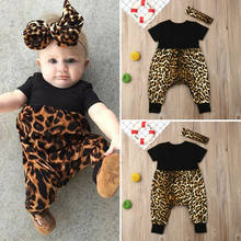 Newborn Toddler Baby Girls Leopard print Clothes Romper Jumpsuit 2PCS Outfits(China)