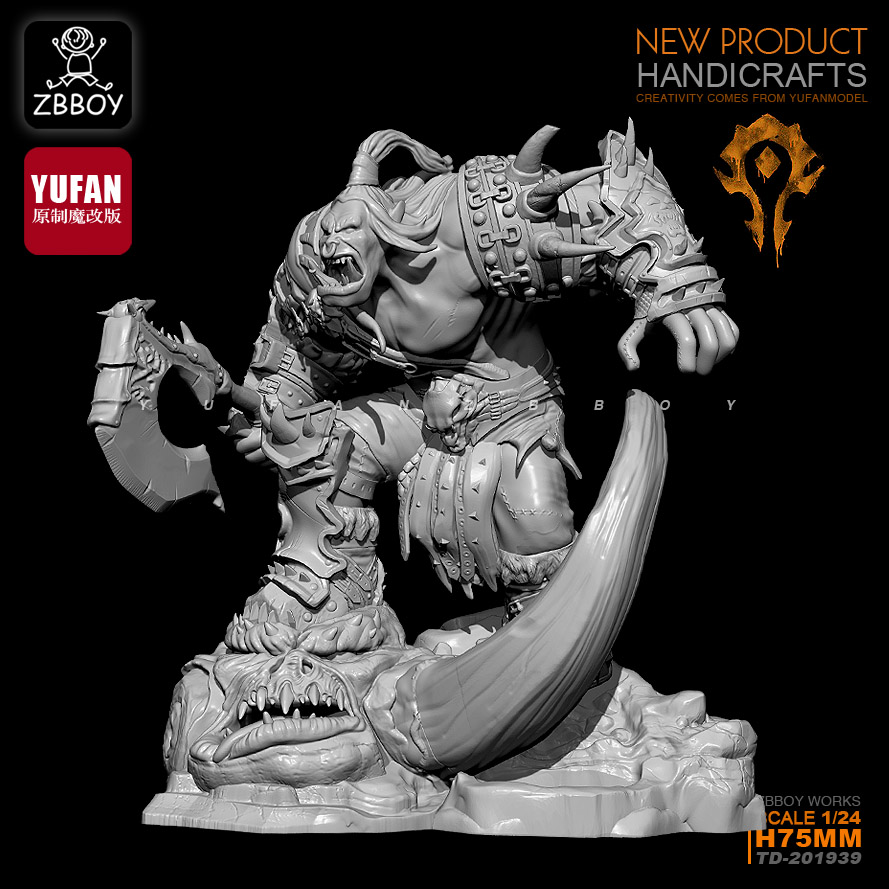 75MM1/24  Resin Kits Orc's anger, resin soldier self-assembled TD-201939