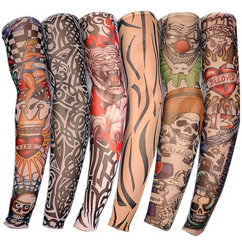 1pc Tattoo Print Skull Joker Arm Warmers Tattoo Sleeve For Men N Women Unisex Sleeves Summer Cool Cover Wrist Arm Cuff UV Sleeve