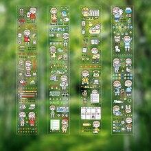 Прозрачный ПЭТ-эстетической наклейки Каваи мультфильм девушка пулей дневник альбом скрапбукинг Корея стиль канцелярские наклейки