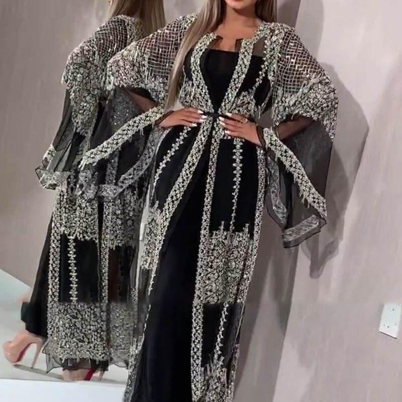 Luxury Muslim Mesh Abaya Dress Cardigan Sequins Kimono Long Robe Gowns Jubah Vestidos Sexy Party Middle East Eid Ramadan Islamic