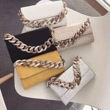 Retro Acrylic Chain Crocodile Handbags Women Flip Hand Bags Alligator Luxury Designer Leather Shoulder New 2019 Hot