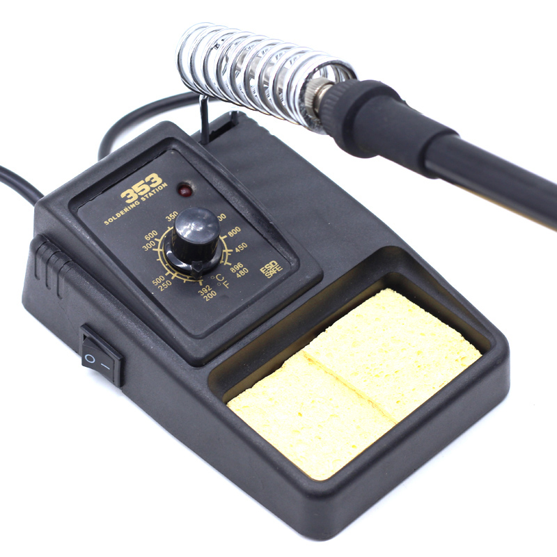 Adjustable Temperature Electric Soldering Iron 220V Welding Solder Rework Station Stand Holder With Welding Cleaning Sponge Pad
