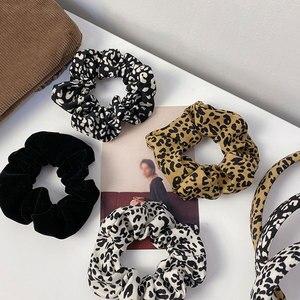 Leopard Zebra Polka Dot Cord Scrunchies Haar Zubehör Frauen Elastische Haar Ring Haar Krawatte Pferdeschwanz Halter Gummi Haar Band